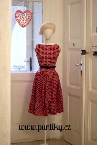 Šaty Lindy Bop růžové s černým puntíkem
