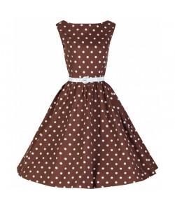 Šaty Lindy Bop čokoládové s bílým puntíkem
