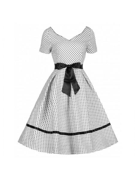 Šaty Lindy Bop bílé s černým puntíkem