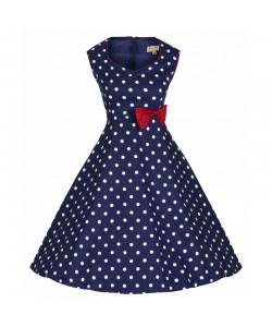 Šaty Lindy Bop modré bílý puntík a s červenou mašlí