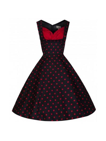 Šaty Lindy Bop černé s červeným puntíkem