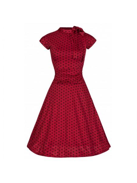Šaty Lindy Bop červené s černým puntíkem krátký rukáv