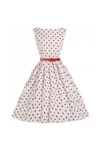 Šaty bílé s červeným puntíkem