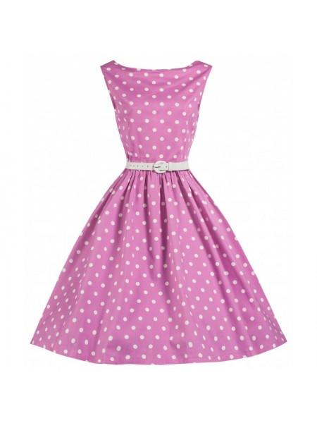 Šaty Lindy Bop růžové s bílým puntíkem