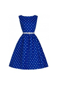 Šaty Lindy Bop modré bílý puntík