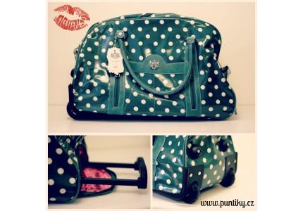 Cestovní taška zelená s bílými puntíky LYDC