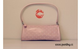 Kosmetická taška růžová s bílými puntíky