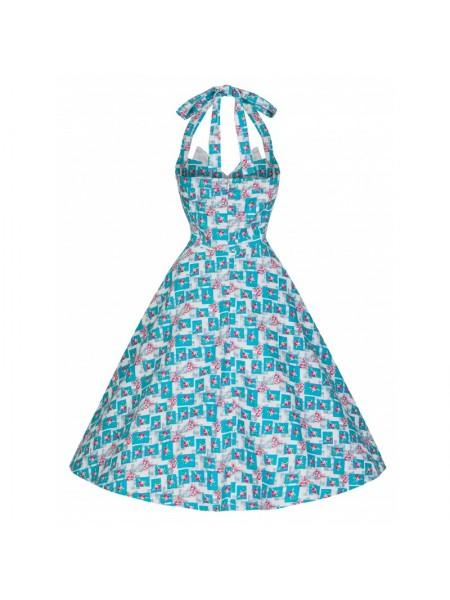 Šaty Lindy Bop vintage modrobílé s růžemi