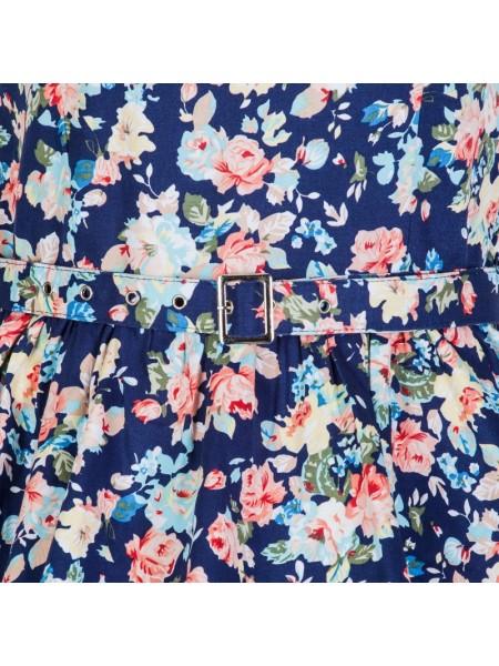 Šaty Lindy Bop vintage tmavě modré s růžemi