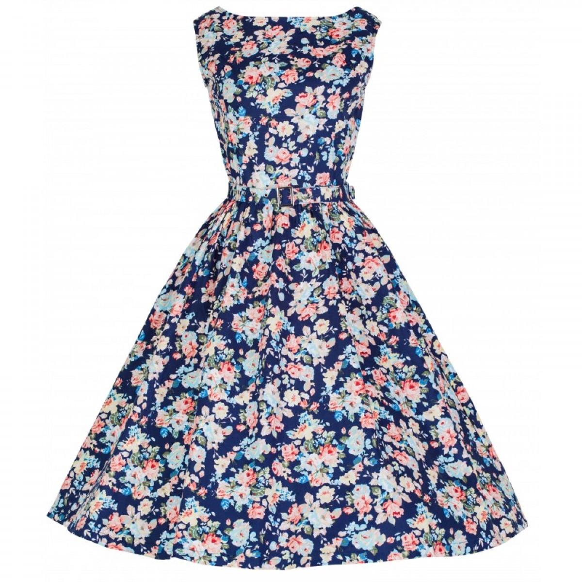 Šaty Lindy Bop vintage tmavě modré s růžemi 00e7d947de