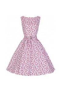 Šaty Lindy Bop vintage růžové s červeným motivem