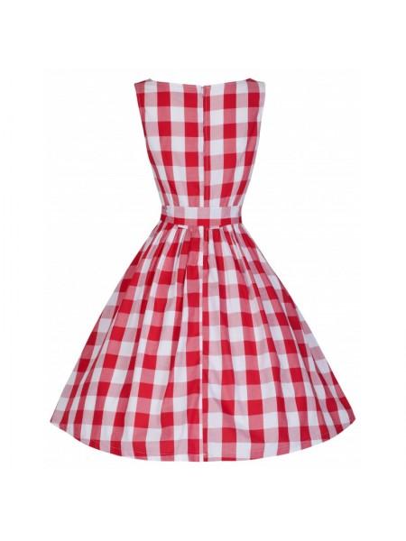 Šaty Lindy Bop vintage bílé s červenými pruhy