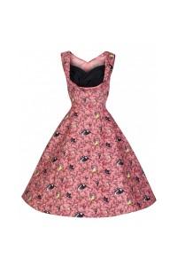 Šaty Lindy Bop korálové s motivem ptáků
