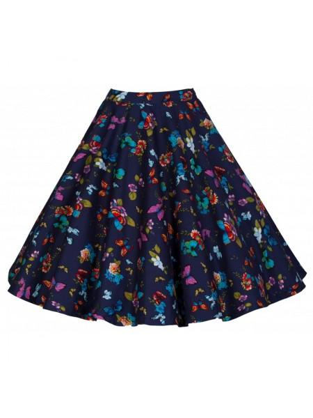 Sukně Lindy Bop tmavě modrá s motivem motýlú