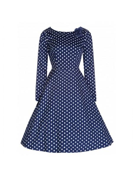 Šaty Lindy Bop modré s dlouhým rukávem
