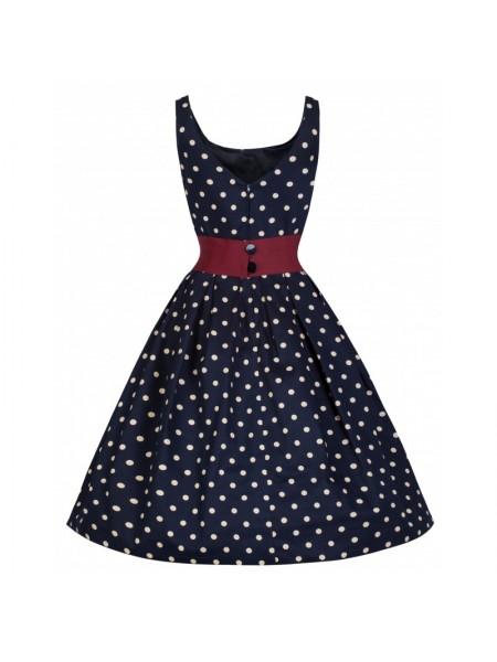 Šaty Lindy Bop tmavě modré bílý puntík s červeným páskem