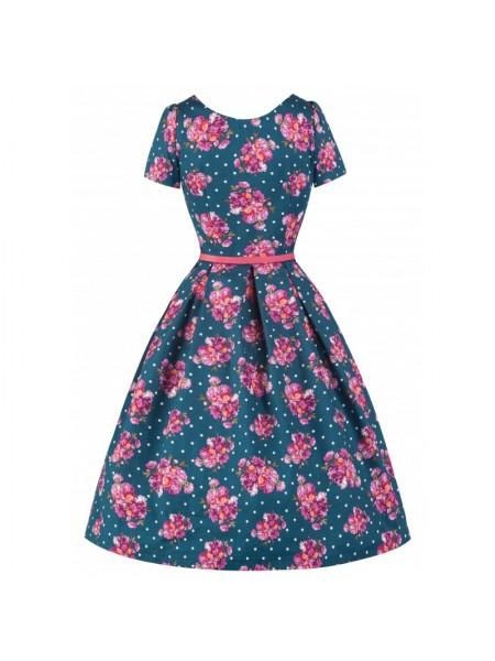 Šaty Lindy Bop modré s bílým puntíkem a růžovými květy
