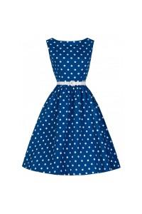 Šaty Lindy Bop modré s bílým puntíkem