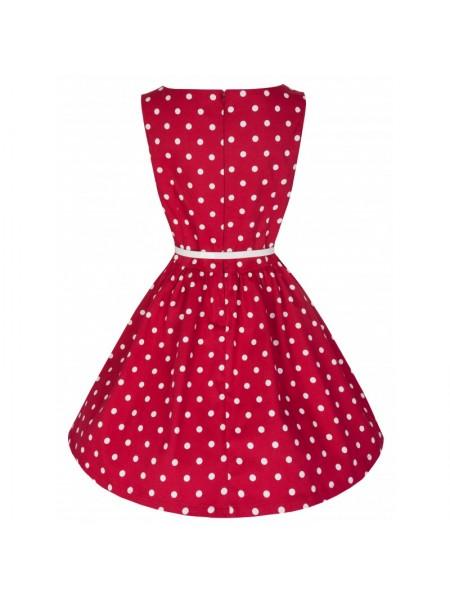 Šaty Lindy Bop červené s bílým puntíkem