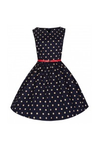 Šaty Lindy Bop tmavě modré s bílým puntíkem