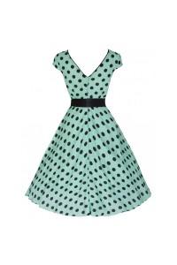 Šaty Lindy Bop mentolově zelené černý puntík 'Mary Ellen'