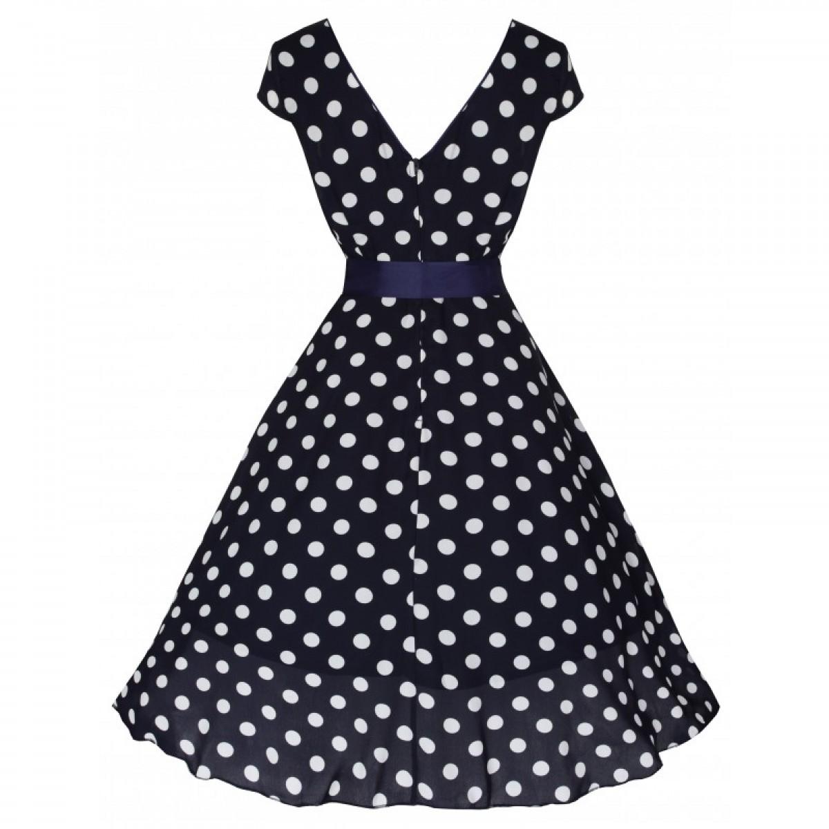 Šaty Lindy Bop tmavě modré bílý puntík  Mary Ellen  23eb1be288