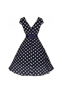 Šaty Lindy Bop tmavě modré bílý puntík 'Mary Ellen'