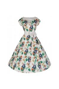 Šaty Lindy Bop bílé s barevnými papoušky