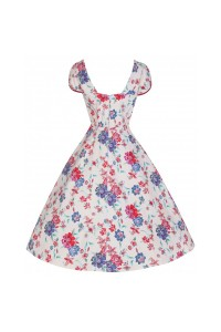Šaty Lindy Bop bílé s barevnými japonskými květy