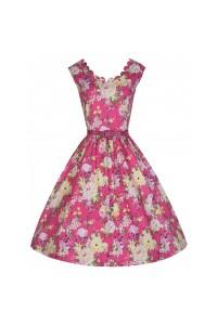 Šaty Lindy Bop růžové s květy