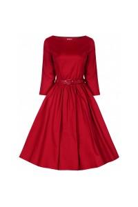 Šaty Lindy Bop červené s dlouhým rukávem