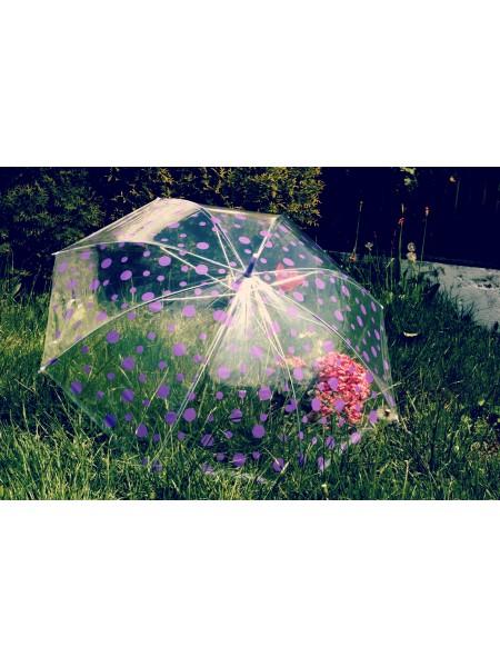 Deštník s fialovým puntíkem průhledný