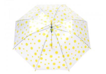 Deštník s žlutým puntíkem průhledný