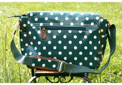 Taška zelená s bílým puntíkem