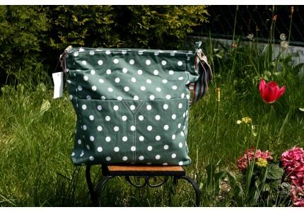 Taška tmavě zelená bílý puntík