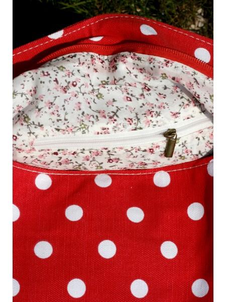 Taška červená s bílým puntíkem látková
