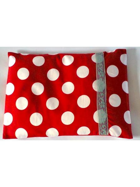 Nahřívací polštářek červený s bílým puntíkem