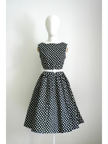 Šaty Lindy Bop černé s bílým puntíkem